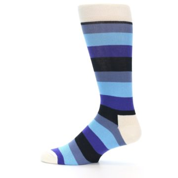 Image of Blues Stripe Men's Dress Socks (side-2-12)