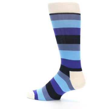 Image of Blues Stripe Men's Dress Socks (side-2-13)