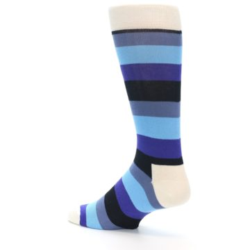 Image of Blues Stripe Men's Dress Socks (side-2-back-14)