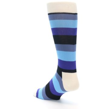 Image of Blues Stripe Men's Dress Socks (side-2-back-15)