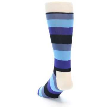 Image of Blues Stripe Men's Dress Socks (side-2-back-16)
