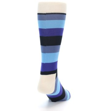 Image of Blues Stripe Men's Dress Socks (side-1-back-20)
