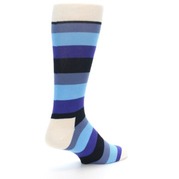 Image of Blues Stripe Men's Dress Socks (side-1-back-22)