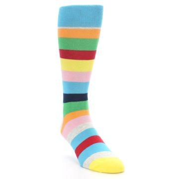 Image of Multi Color Stripe Men's Dress Socks (side-1-front-02)