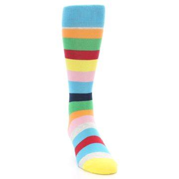Image of Multi Color Stripe Men's Dress Socks (side-1-front-03)
