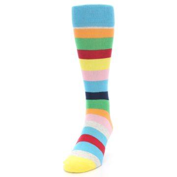 Image of Multi Color Stripe Men's Dress Socks (side-2-front-06)
