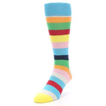 Image of Multi Color Stripe Men's Dress Socks (side-2-front-07)