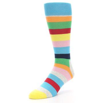 Image of Multi Color Stripe Men's Dress Socks (side-2-front-08)