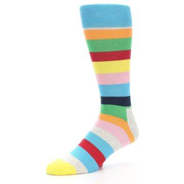 Image of Multi Color Stripe Men's Dress Socks (side-2-09)