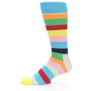 Image of Multi Color Stripe Men's Dress Socks (side-2-11)