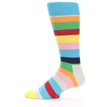 Image of Multi Color Stripe Men's Dress Socks (side-2-12)