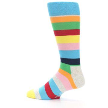 Image of Multi Color Stripe Men's Dress Socks (side-2-13)