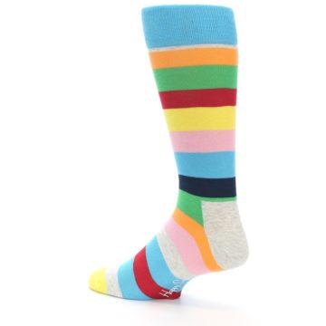 Image of Multi Color Stripe Men's Dress Socks (side-2-back-14)