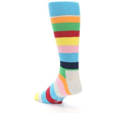 Image of Multi Color Stripe Men's Dress Socks (side-2-back-15)