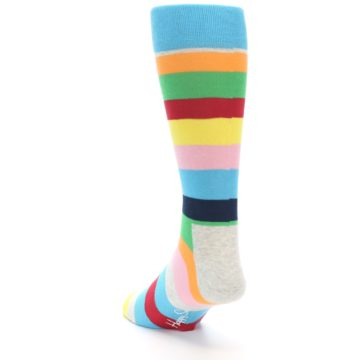 Image of Multi Color Stripe Men's Dress Socks (side-2-back-16)