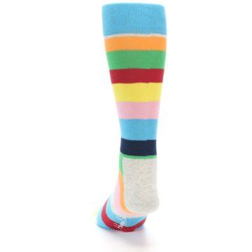 Image of Multi Color Stripe Men's Dress Socks (back-17)