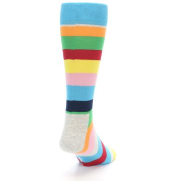 Image of Multi Color Stripe Men's Dress Socks (side-1-back-20)