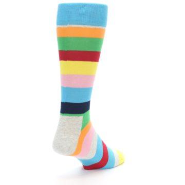 Image of Multi Color Stripe Men's Dress Socks (side-1-back-21)