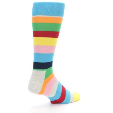Image of Multi Color Stripe Men's Dress Socks (side-1-back-22)