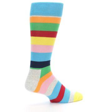 Image of Multi Color Stripe Men's Dress Socks (side-1-23)