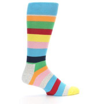 Image of Multi Color Stripe Men's Dress Socks (side-1-24)