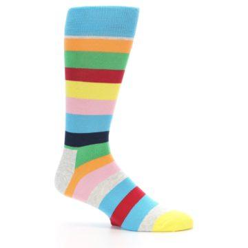 Image of Multi Color Stripe Men's Dress Socks (side-1-25)