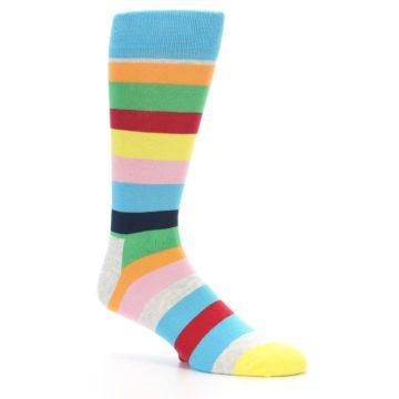 Image of Multi Color Stripe Men's Dress Socks (side-1-26)