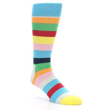 Image of Multi Color Stripe Men's Dress Socks (side-1-27)