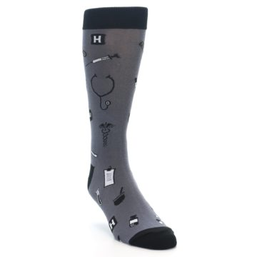 Image of Grey Black Medical Men's Dress Socks (side-1-front-02)
