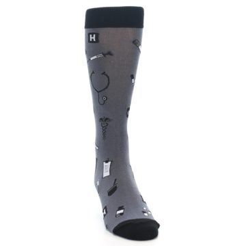 Image of Grey Black Medical Men's Dress Socks (side-1-front-03)