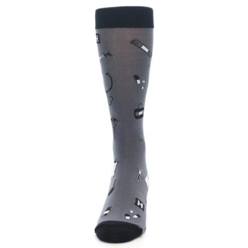 Image of Grey Black Medical Men's Dress Socks (front-05)