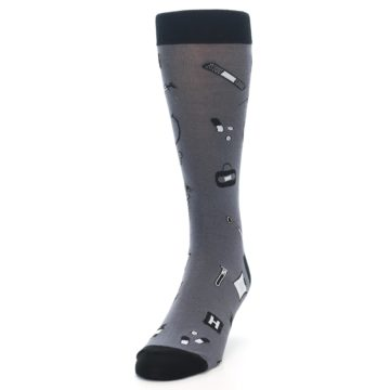 Image of Grey Black Medical Men's Dress Socks (side-2-front-06)