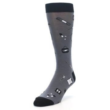 Image of Grey Black Medical Men's Dress Socks (side-2-front-07)