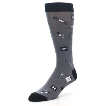 Image of Grey Black Medical Men's Dress Socks (side-2-front-08)