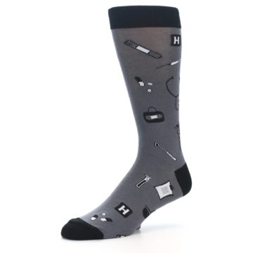 Image of Grey Black Medical Men's Dress Socks (side-2-09)