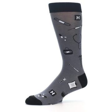Image of Grey Black Medical Men's Dress Socks (side-2-10)