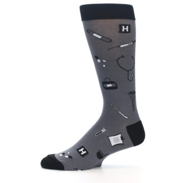 Image of Grey Black Medical Men's Dress Socks (side-2-11)