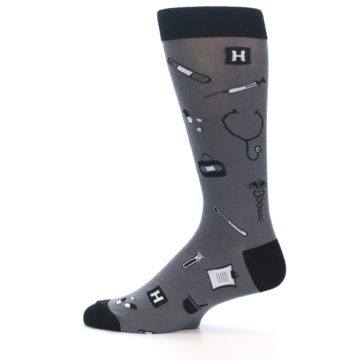 Image of Grey Black Medical Men's Dress Socks (side-2-12)