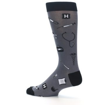 Image of Grey Black Medical Men's Dress Socks (side-2-13)
