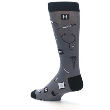 Image of Grey Black Medical Men's Dress Socks (side-2-back-14)
