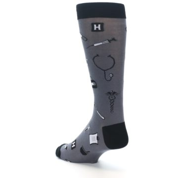 Image of Grey Black Medical Men's Dress Socks (side-2-back-15)