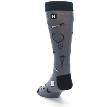 Image of Grey Black Medical Men's Dress Socks (side-2-back-16)