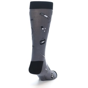 Image of Grey Black Medical Men's Dress Socks (side-1-back-20)