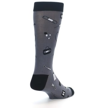 Image of Grey Black Medical Men's Dress Socks (side-1-back-21)