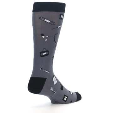 Image of Grey Black Medical Men's Dress Socks (side-1-back-22)