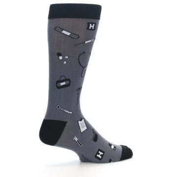 Image of Grey Black Medical Men's Dress Socks (side-1-23)