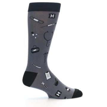 Image of Grey Black Medical Men's Dress Socks (side-1-24)