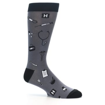 Image of Grey Black Medical Men's Dress Socks (side-1-25)