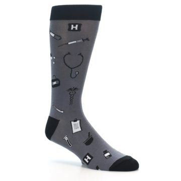 Image of Grey Black Medical Men's Dress Socks (side-1-26)