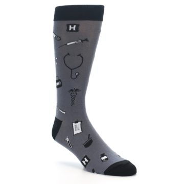 Image of Grey Black Medical Men's Dress Socks (side-1-27)